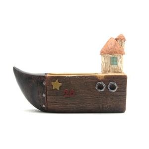 Image 5 - Roogo ジセラミックフラワーポットレトロ木材パイルシリーズモスポットガーデン用品装飾花瓶と多肉植物花ケース樹脂おもちゃの車ギフト