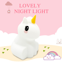 Lovely Rechargeable Unicorn silicone baby LED night light children toy lights bedside night lamp gifts for kids 8 colors light