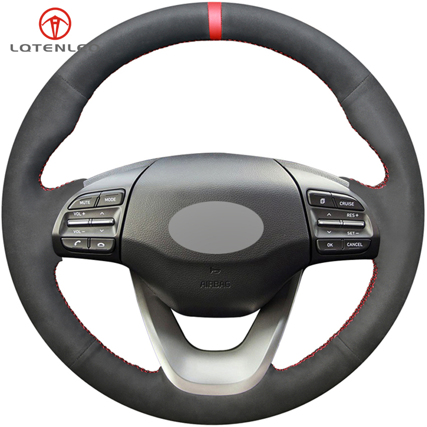 LQTENLEO DIY Hand stitched Black Suede Car Steering Wheel Cover For Hyundai Kona 2017 2019 i30