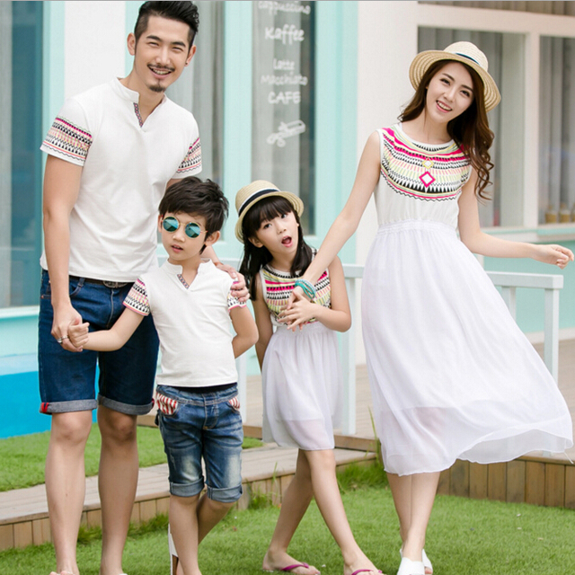 922f2a8cf5 Family Matching Outfits Mother and Daughter Sleeveless Chiffon Dress  Fashion Matching Family Clothing Father Son T shirt, CP14