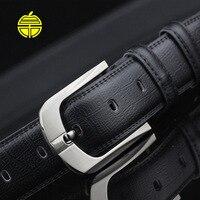 2016 Man Black Belt With Pin Belt Buckle Male Boss Strap Luxury Cowskin Riemen High Quality