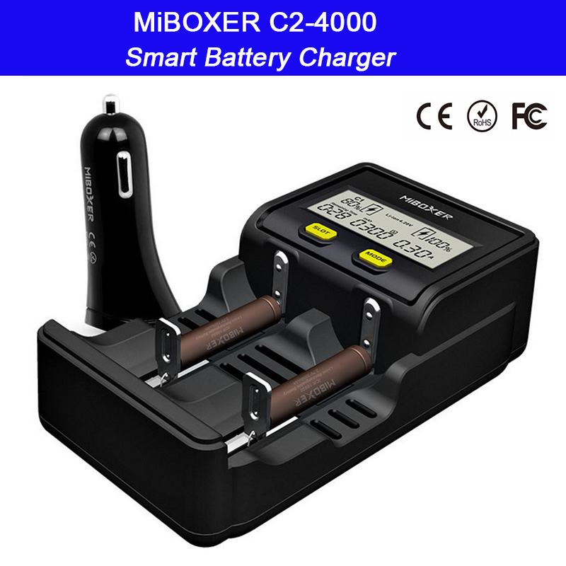 2 slots Intelligent LCD Screen Battery Charger Miboxer C2-4000 for Li-ion/Ni-MH/Ni-Cd/LiFePO4 18650 26650 rechargeable batteries 2 slots intelligent lcd screen battery charger miboxer c2 4000 for li ion ni mh ni cd lifepo4 18650 26650 rechargeable batteries
