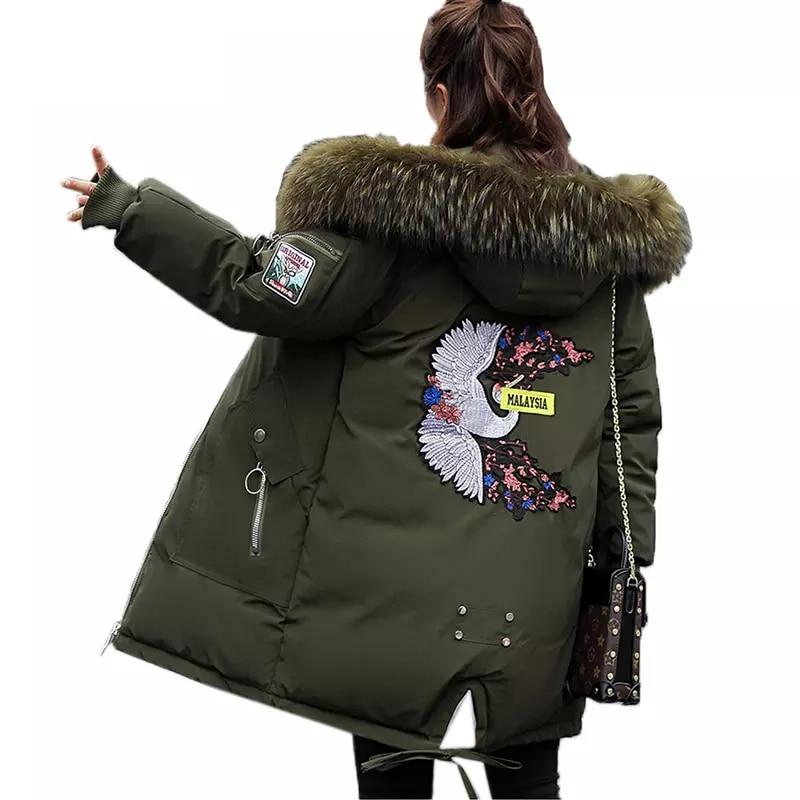 Plus size Winter Women Jacket Long Thick   Parka   Jacket Big Fur Hooded Winter Coat Warm Down Cotton Jackets Women jaqueta feminina