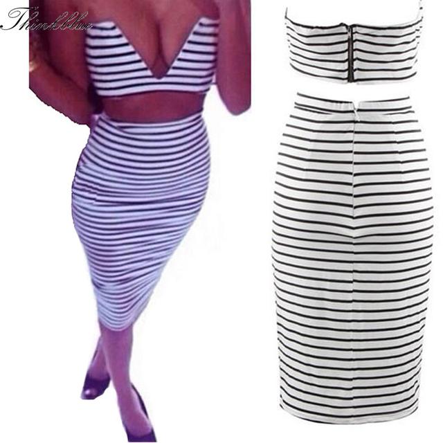 Novo 2014 2 Peças de Moda Sexy Black & White Stripe Mulheres Safra Top E Saia Definir Profundo Decote Em V Top Colheita Bustier + Saia Lápis conjunto