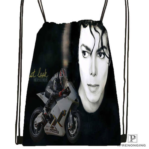 Custom Michael Jackson@05  Drawstring Backpack Bag Cute Daypack Kids Satchel (Black Back) 31x40cm#20180611-02-64