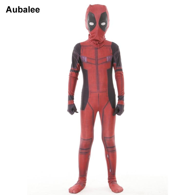 fdeaaa93378626 Enfants Cool Deadpool Cosplay Costume Fantaisie Robe Garçons Halloween  Party Zentai Costume Lycra Spandex X-