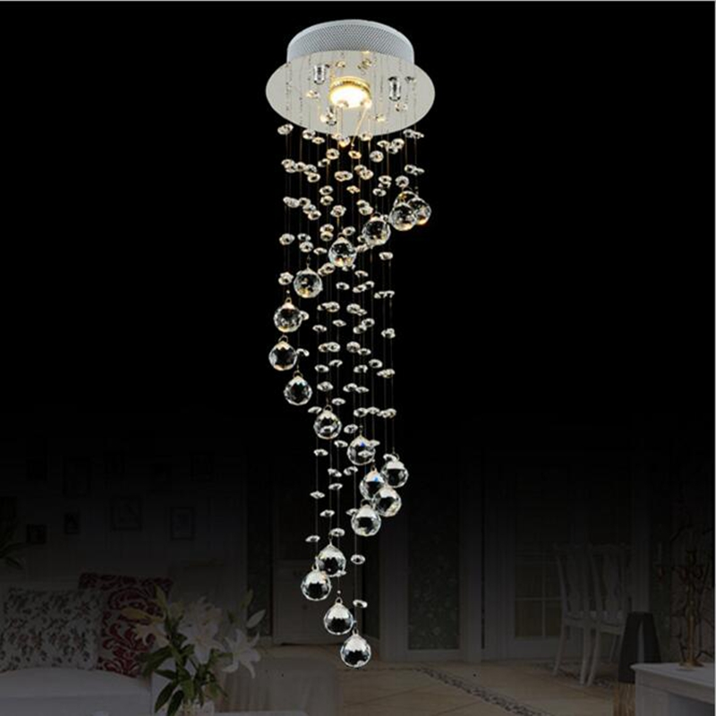 Modern Clear Waterford Spiral Sphere LED Lustre Crystal Chandelier Ceiling Lamp Suspension Pendant Lamp Home Lighting Luminaire