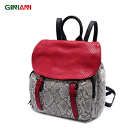 GINIANI Genuine Leather Red Cover Front Solid Pocket Serpentine Small Cutie Girls' Schoolbag Young Ladies Leather Strap Backpack
