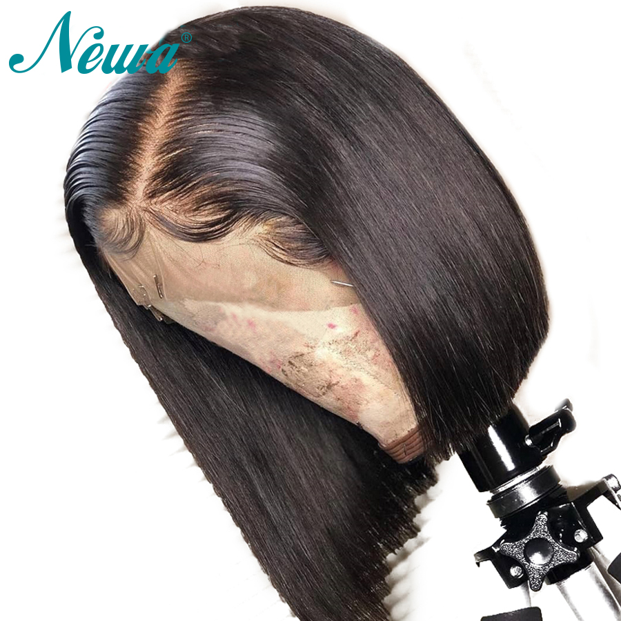 NYUWA 360 Lace Frontal Wig With Baby Hair Pre Plucked Straight Human Hair Short Bob Wigs