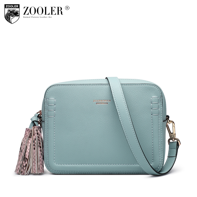 ZOOLER Brand genuine leather women messenger bag with tassel casual female fashion style crossbody small bags ladies retro A105 retro tiny bell tassel anklet for women