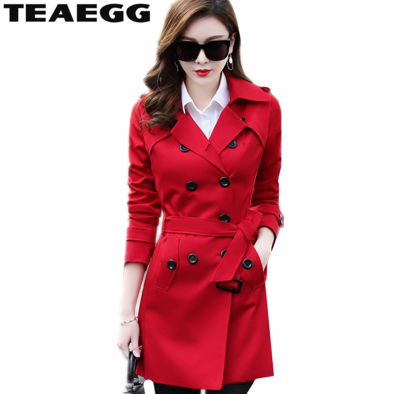 TEAEGG Double Breasted Womens Coats Windbreaker Casaco Feminino Red   Trench   Coat Woman Plus Size 4XL 5XL 6XL Chaquetas AL1234