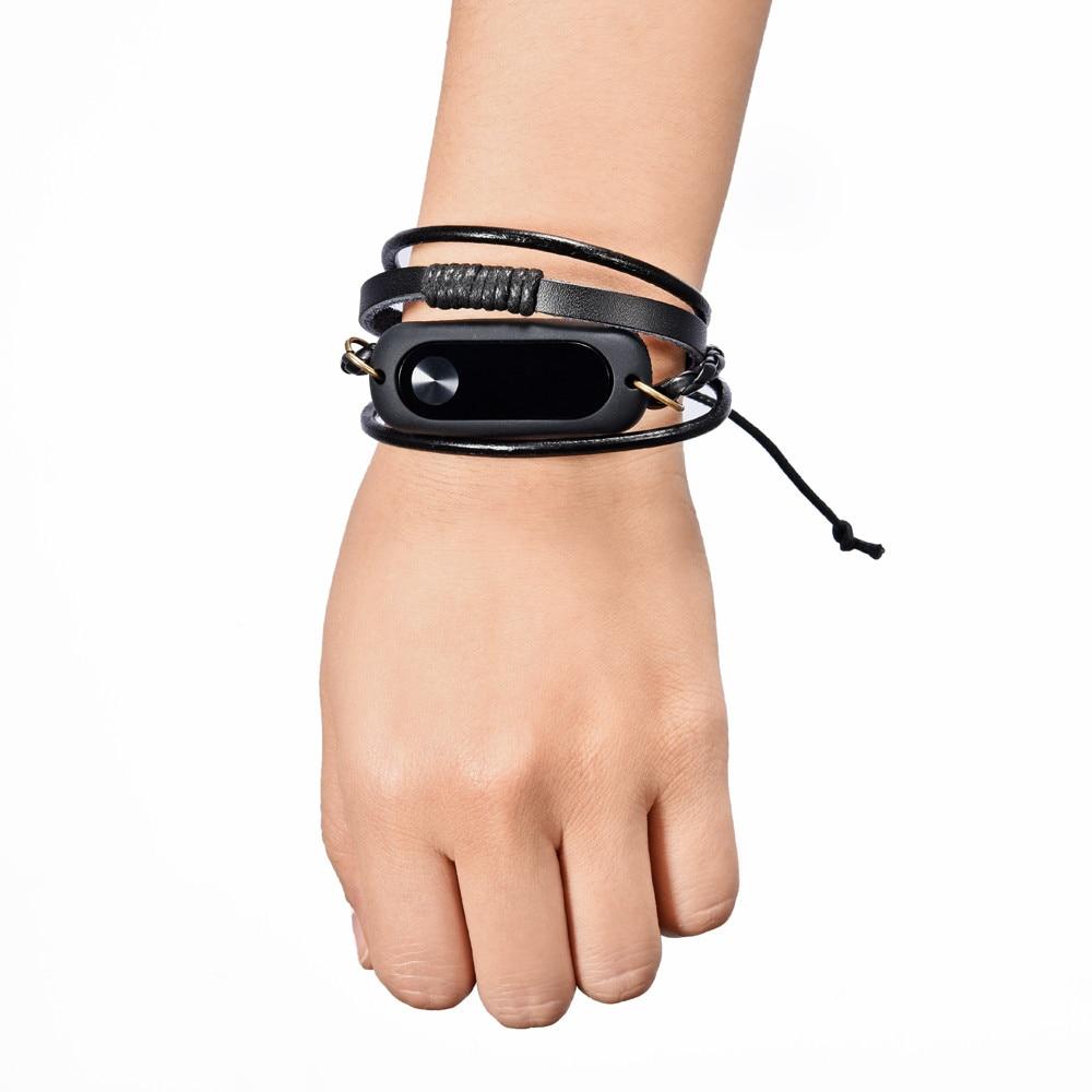 New Fashion Leather Bracelet Strap Replacement For Xiaomi Mi Band 2 Smart Wristband Black drop ship Jul29 M30 new fashion original silicon wrist strap wristband bracelet replacement for xiaomi mi band 2 dignity 8 9