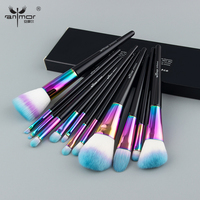 Anmor 12PCS Rainbow Makeup Brush Set Premium Make Up Brushes For Foundation Powder Concealer Blending With Copper Ferrule