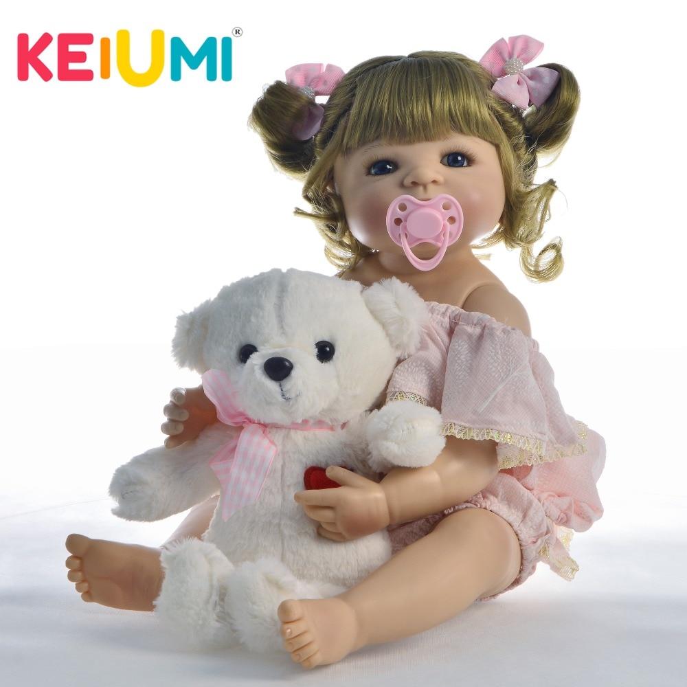 KEIUMI 새로운 도착 인형 인형 22 ''55cm 실리콘 전신 현실적인 소녀 아기 인형 장난감 크리스마스 선물 놀이 장난감-에서인형부터 완구 & 취미 의  그룹 1
