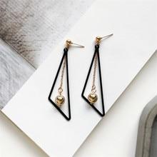 Metallic triangle earrings fashion tide people ball Retro geometric attractive women jewelry wholesale