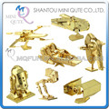 Mini Qute Piece Fun Golden 3D Metal Puzzle Star War AT-AT bb8 R2D2 TIE Fighter Millennium Falcon X Wing educational toy