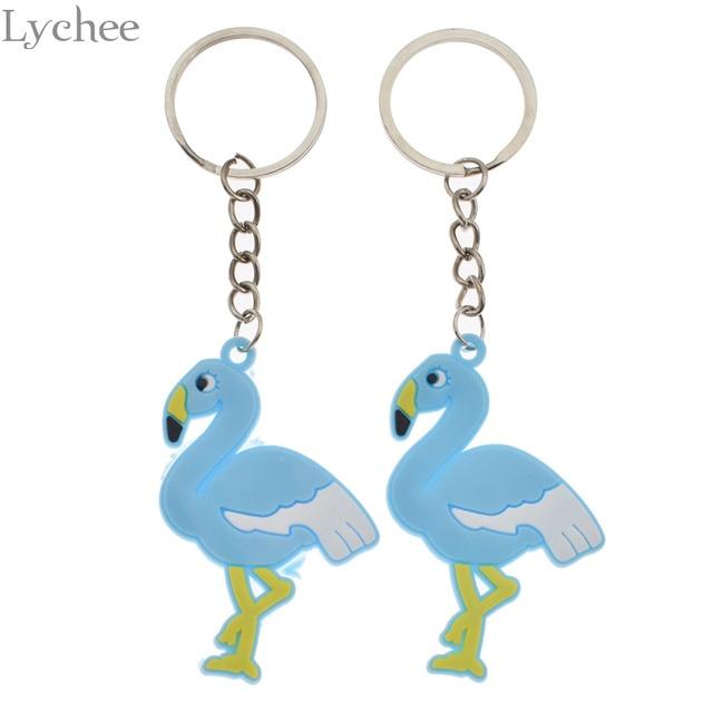 Lychee 2pcs Trendy Rubber Flamingo Keychain Lovely Unisex Key chains Kawaii  Women Men Keyring Backpack Pendant Accessories cf3105d3b7