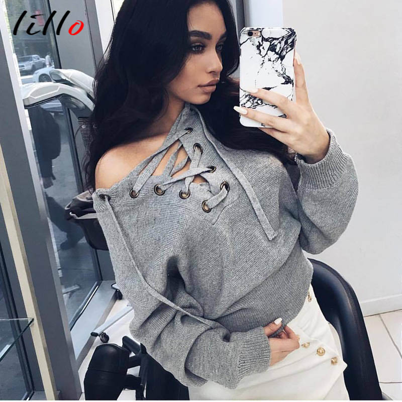 . autumn and winter burst sweater sexy deep V strapless shoulder strap sweater women fashion wild knitted sweater