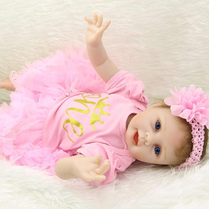 Collectible Soft Silicone Baby Dolls 22 Inch Reborn Girls Lifelike Newborn Dolls With Dress Kids Birthday Xmas Gift handmade 22 inch newborn baby girl doll lifelike reborn silicone baby dolls wearing pink dress kids birthday xmas gift