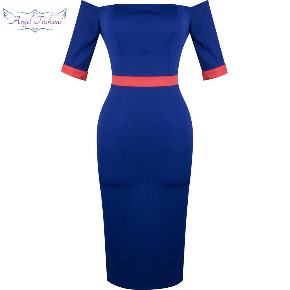 Angel-fashions Formal   Dress   Boat Neck Body Con   Evening     Dress   Blue 347
