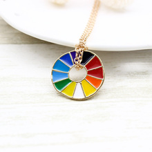 HOT 1 PCS Unique Charm Alloy Rainbow Necklace Rotate Color Wheel Pendant Fashion Jewelry Gift