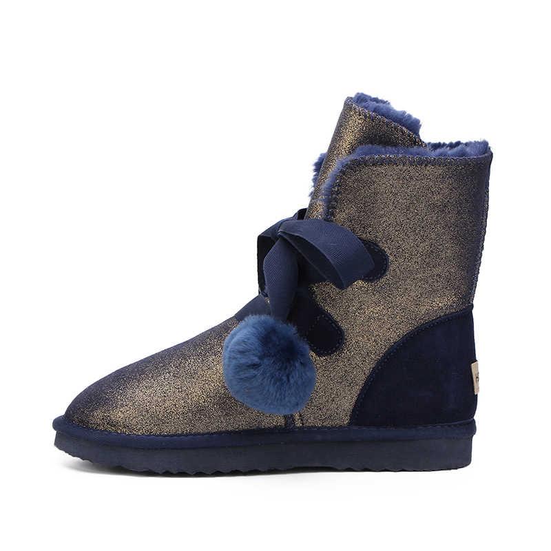 MBR kuvvet 2018 yeni yüksek kalite moda kadın kar botları sıcak çizmeler kürk kışlık botlar hakiki deri su geçirmez kadın botları