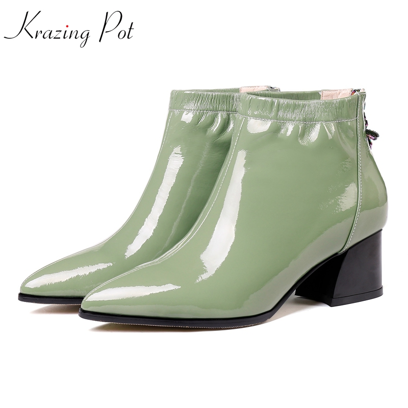 Krazing Pot 2018 genuine leather pleated decoration brand boots Chelsea boots superstar plus size high quality ankle boots L8f4 draped pleated plus size tunic top