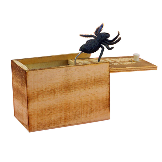 April Fool's Day gift Wooden Prank Trick Practical Joke Home Office Scare Toy Box Gag Spider Mouse Kids Funny Gift 1