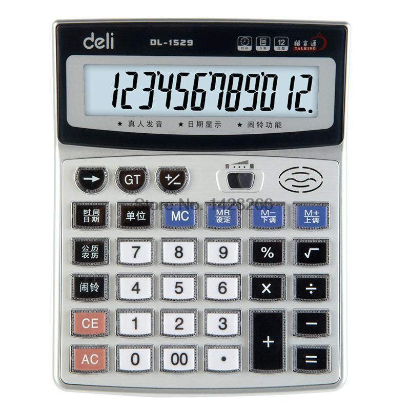 1 Piece Authentic Deli 1529 Crystal big button computer voice calculator 12 digits big screen with