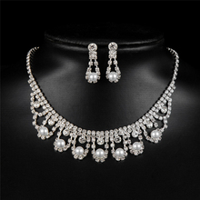 Ajojewel Classic Costume Design Brand wedding accessories bride jewelry set Simulated pearl Necklace Earring Copper Alloy