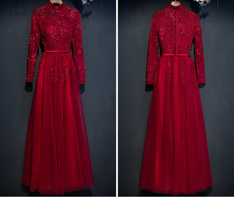 C.V New Fashion 2019 Standrad Collar Red Color Long Evening Dress Long-sleeve Lace Beading Dinner Evening Dresses E0024