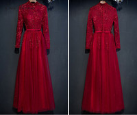 C V New Fashion 2017 Red Color Long Evening Dress Long Sleeve Stand Collar Dinner Evening