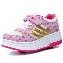 1 or 2 Wheels Sneakers New Outdoor Children Shoes Girls Boys Fashion Shoes For Kids EU28-43 Roller Wheels Sneakers Sapatos
