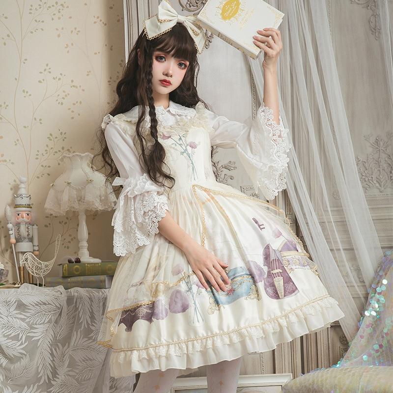 Retro Style Lolita JSK Dress Sleeveless Midi Party Summer Chiffon Dress