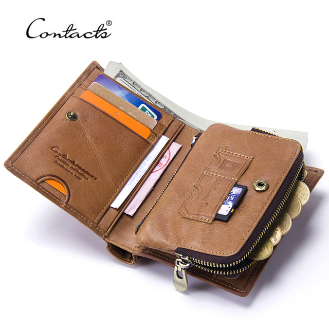 CONTACT'S Vintage Short Men Wallets Genuine Leather Men Wallet Hasp Design With Zipper Coin Purse Card Holder Purses For Male