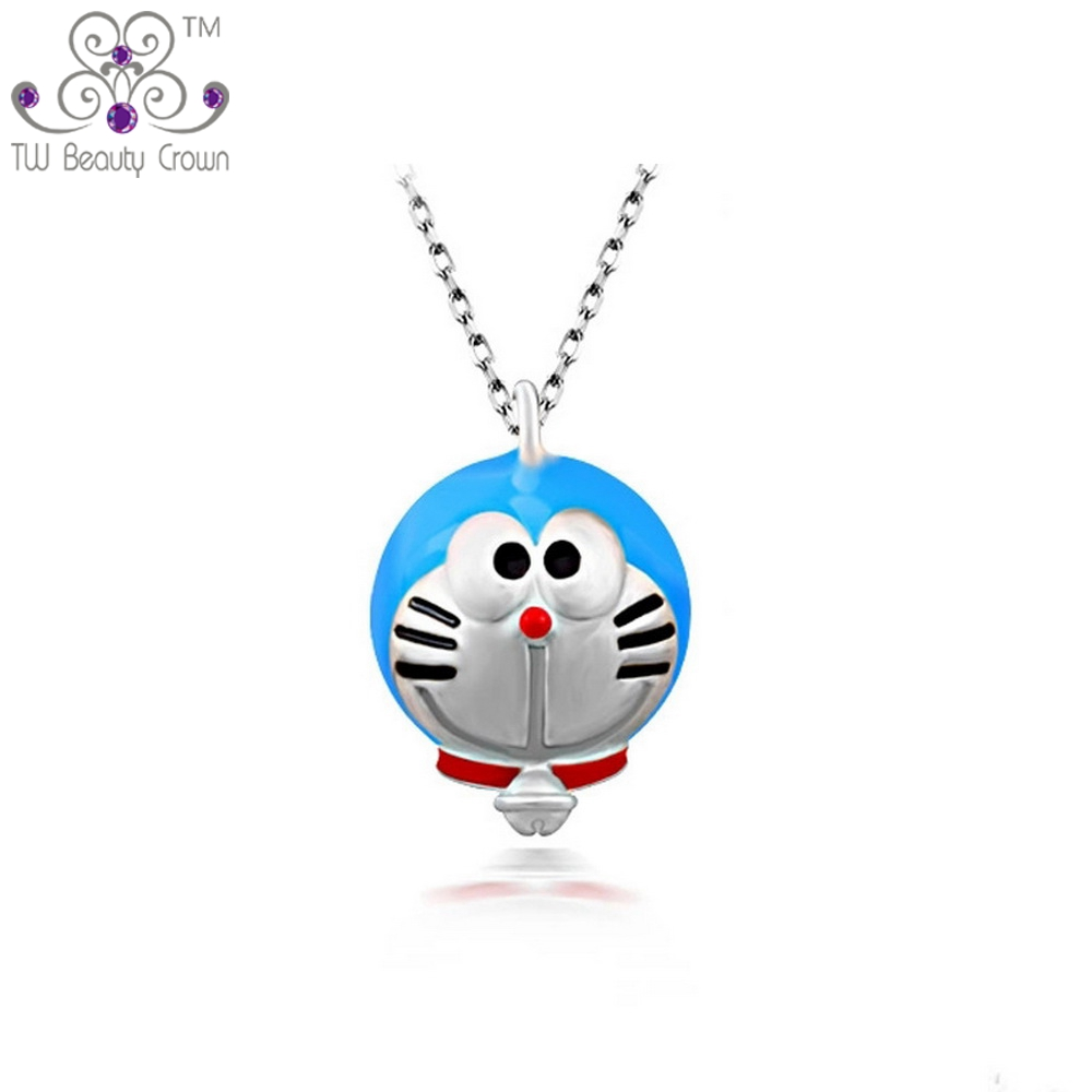 Real 925 Sterling Silver Fashion Cute Doraemon Pendant Necklaces For Women Girls Children Jewlery Antiallergic