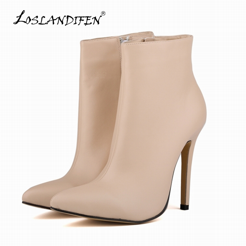LOSLANDIFEN Women Boots Pumps Pointed Toe Matte PU Leather High Heels Ladies Work Autumn Winter Ankle Boots Shoes 769-4