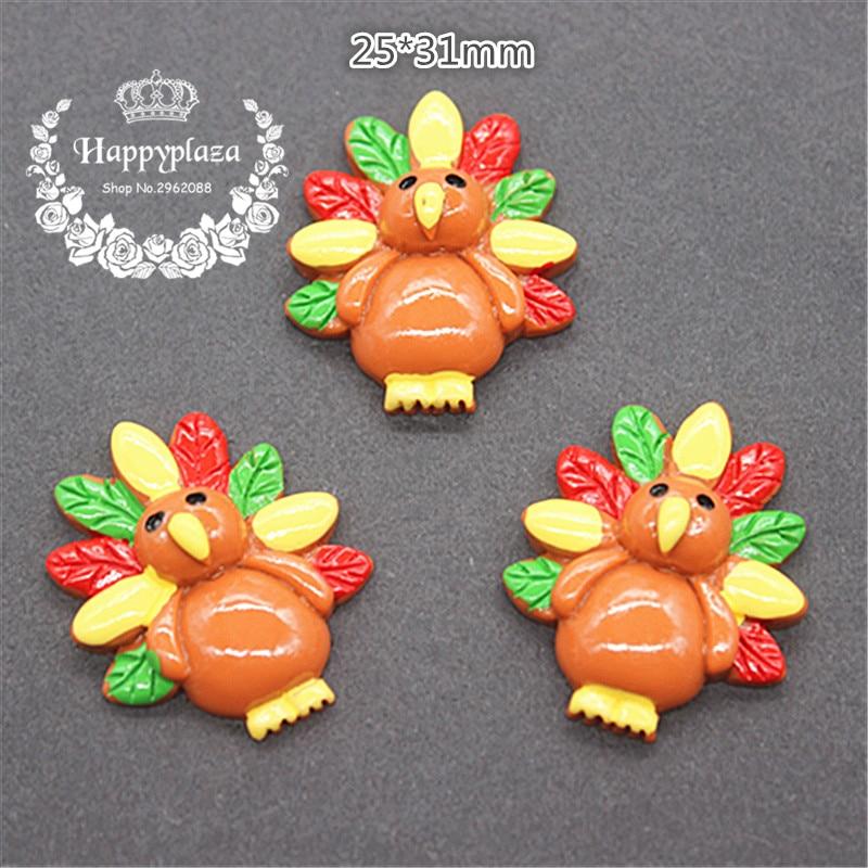 10pcs Resin Halloween Turkey Flatback Cabochon Miniature Art Supply Decoration Charm Craft DIY,25*31mm