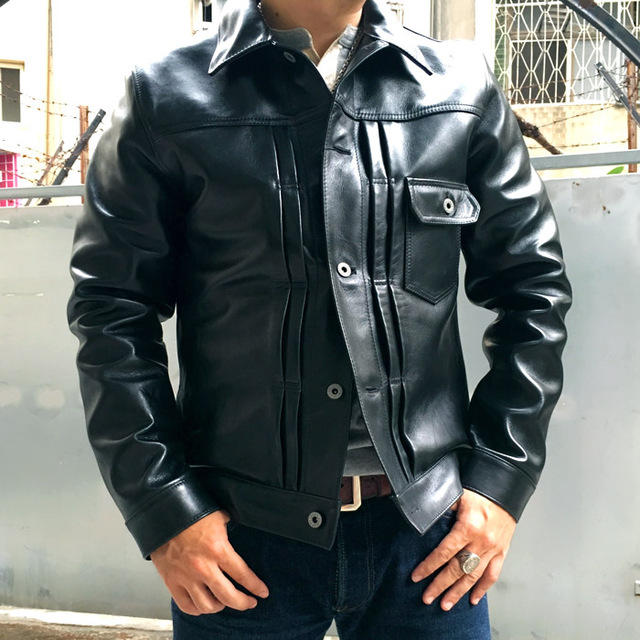 999f44b8700 S to 4XL black Genuine Leather Jacket Men Fashion Natural Horsehide Leather  Coat Motor real Leather Jacket 2017 free shipping