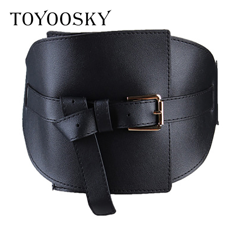Women Wide Belt Cummerbunds Wide PU Leather Pin Buckle Personality Knotted Closing Waist All-Match Luxury Cummerbunds TOYOOSKY
