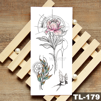 Lotus Peony Rose Flowers Waterproof Temporary Tattoo Sticker  Minimalist Flash Tattoos Body Art Fake Arm tatoo Women 4