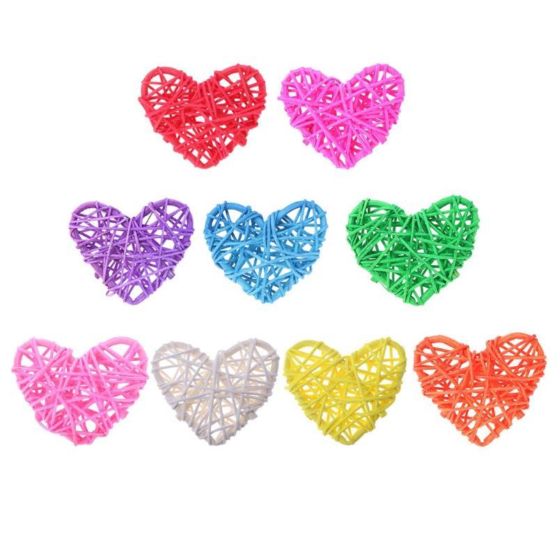 5pcs Colorful Rattan Heart Sepak Takraw DIY Rattan Ball Garden/Birthday/Wedding Decor Home Party Supplies Kids Gifts 60*60*5mm