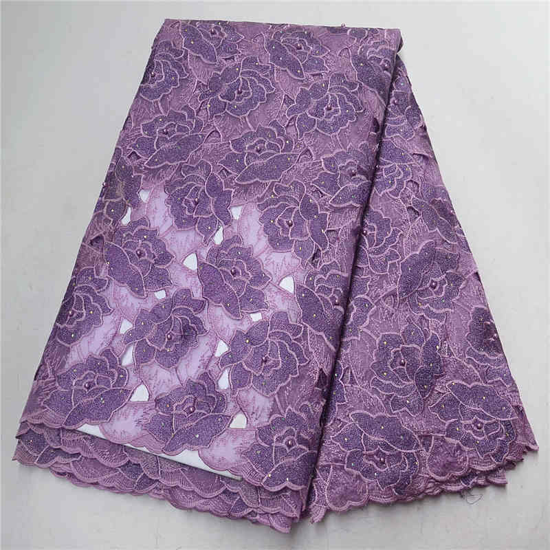 2019 Purple Hnad cut design African Guipure Lace Fabric With Beads French Cord Lace Fabrics For