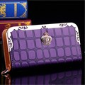 Women Zipper Long Wallet Leather Plaid Crown Pattern Female Money Bag Women Purse Long Wallet Zipper Coin Pocket Carteras