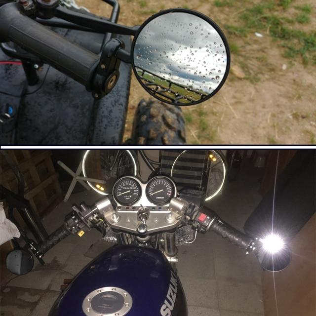 "Motocykl czarny 3 ""okrągły 7/8"" lusterka na końcówkę rączki cafe racer BOBBER CLUBMAN"