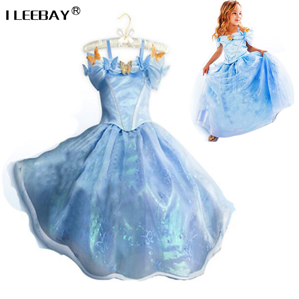 2017 baby girls Cinderella Dresses Halloween Cosplay Costume Party Dress Infant Princess Dress Cinderella Costume Free Shipping star wars princess leia organa cosplay wigs halloween costume wig synthetic fiber wig free shipping 2015 hot sales