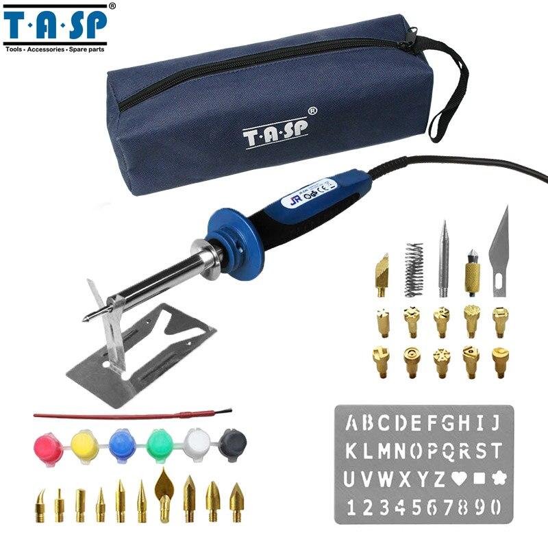 TASP MSI40 20 W/40 W Elétrica Queima De Madeira Caneta Conjunto com 34 Dicas de Ferro De Solda Elétrica Acessórios De Armazenamento saco