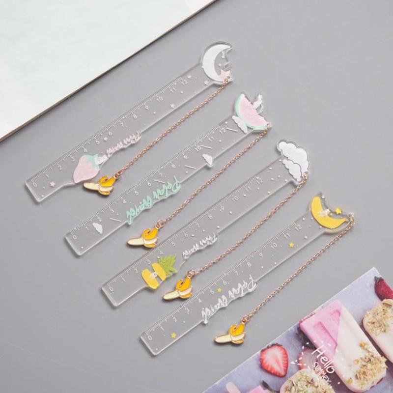 1 Pcs Cute Banana Pendant Fruits Moon Cloud Acrylic Rulers Measuring Straight Ruler Bookmark Gift Korean Stationery