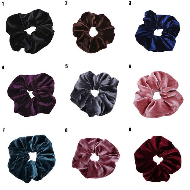 Luxury Elastic Hair Bands Soft Velvet Hair Scrunchie Ponytail Donut Grip Loop Holder Stretchy Hair Band Women Hair Accessories 2