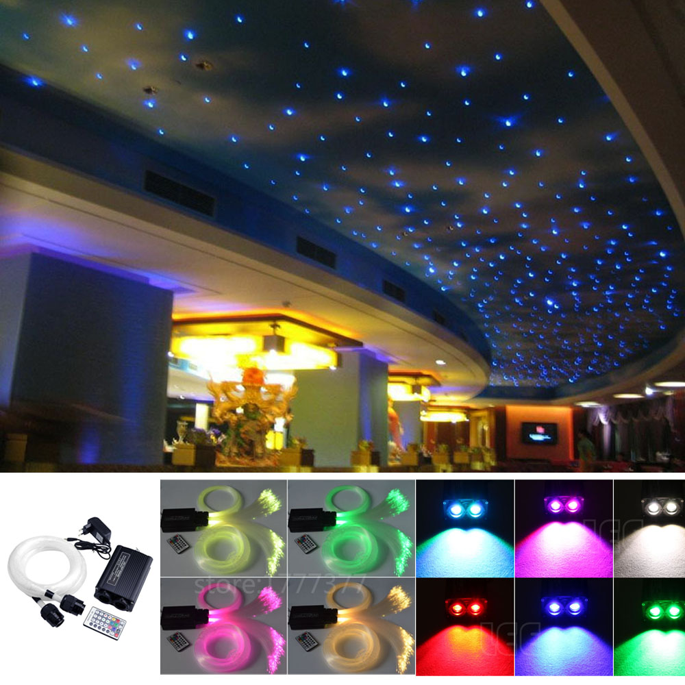 32W RGBW LED Optical Fiber Lights Kit Fiber Optic Star Ceiling Light Kit 300pcs*0.75mm*3M &150pcs*1mm*3M Optical Fiber Cable